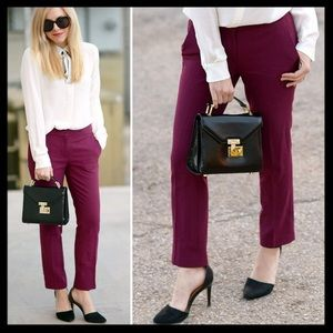 j. crew // campbell capri crop pants wool burgundy